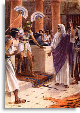 Moses before Pharaoh with snake